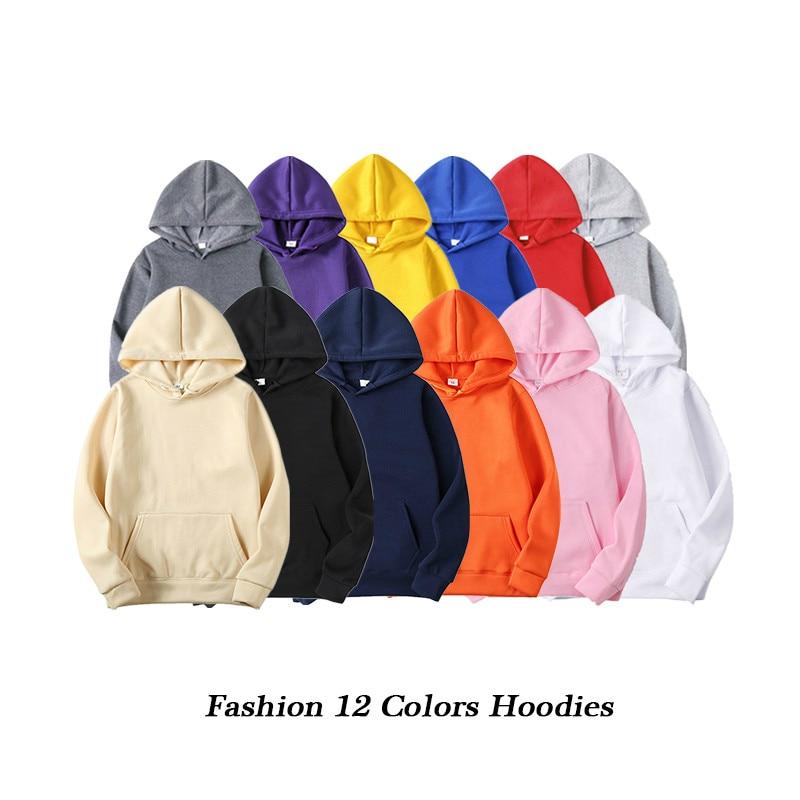 Men Hoodie Sweatshirts 2019 Autumn Male Hip Hop Streetwear Black White Man Pullover Sweatshirts Hoodies Mens Solid Color Hoodie