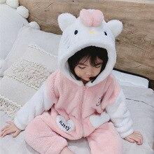 Pajamas Wear Sleeping-Bag Flannel Girl Baby One-Piece Winter Kids Children Cartoon Clothing