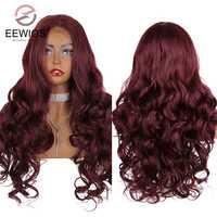 EEWIGS-peluca con malla frontal resistente al calor para mujer peluca sintética de color rosa claro de 26 pulgadas, color burdeos, 180% de densidad, color verde menta, con malla frontal s