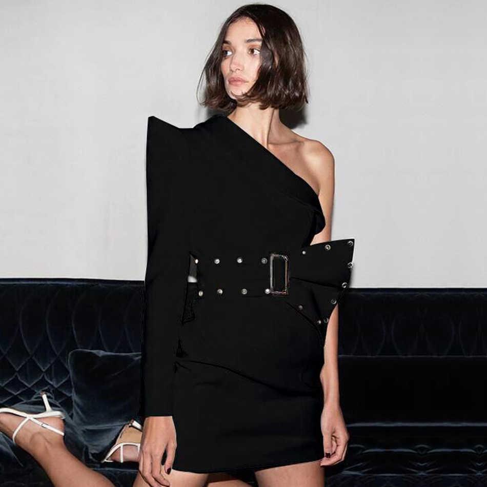 2020 אביב נשים אחד ארוך שרוול ואגלי Bodycon מועדון לילה מעיל שמלת סתיו אלגנטי סקסי סלבריטאים ערב המפלגה Vestidos