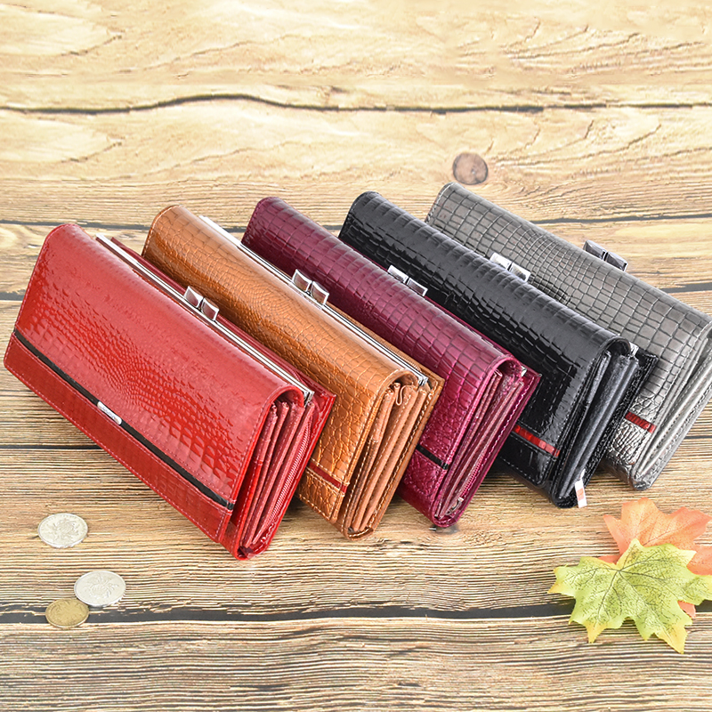 DICIHAYA Brand 2019 Genuine Leather Women Wallets Alligator Long Hasp Zipper Wallet Ladies Clutch Bag Purse Female Luxury Purses