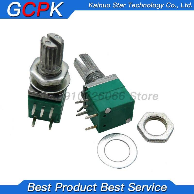 10 pces rv097ns b5k b10k b20k b50k b100k b500k 5pin único potenciômetro ligado com um potenciômetro de vedação de áudio do interruptor