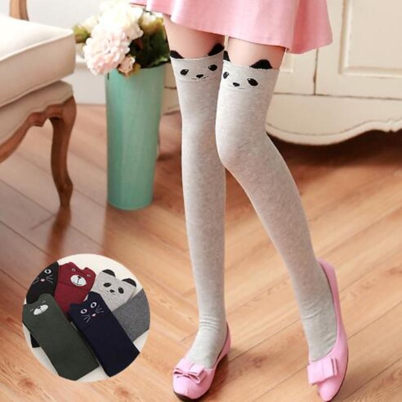 New Women Socks Autumn And Winter Cartoon Panda Stereo Ear High Stocks Casual Cotton Thigh High Over Knee Cotton High Socks