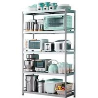Stainless steel kitchen rack landing multi layer storage rack home space microwave oven shelf storage rack