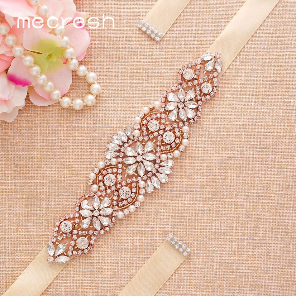 Mecresh Elegant Simulated Pearl Handmade Wedding Dress Belt Women Accessories Rose Gold Color Ribbon Bridal Belt Sash MYD026