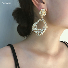 Salircon Charm Creative Geometric Irregular Drop Earrings Gold Silver Alloy Personality Pendant Jewelry Women