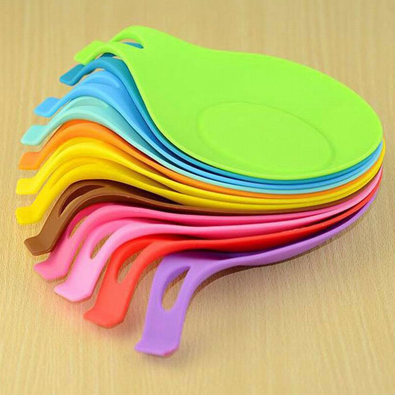 Soft Silicone Spoon Insulation Mat Silicone Heat Resistant Placemat Tray Spoon Pad Desk Mat Drink Glass Coaster Kitchen Tool