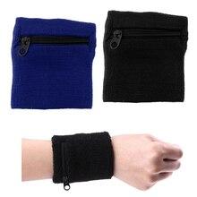 2 шт унисекс спортивные Напульсники наручные обертывание кошелек пот ремешок карман на молнии спортивные фитнес аксессуары