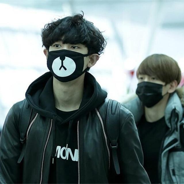 Cotton Mouth Face Mask Unisex Korean Kpop EXO Chanyeol Same Style Chan yeol Lucky Bear Black Mouth Mask Face Respirator 5