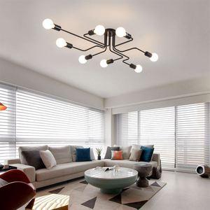 Image 2 - Luminária led suspensa industrial, pingente de ferro, vintage, aranha, ferro, suspensão, para sala de estar, quarto, sala de jantar, bar
