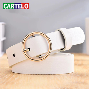 CARTELO Dressing ladies leather professional dress belt new round pin buckle leather wild jeans with narrow fashion students