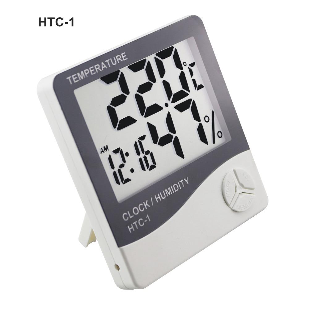 Estación meteorológica HTC-1 / HTC-8 Termómetro digital para interiores Higrómetro Colgante de pared Temperatura electrónica Medidor de humedad Reloj despertador