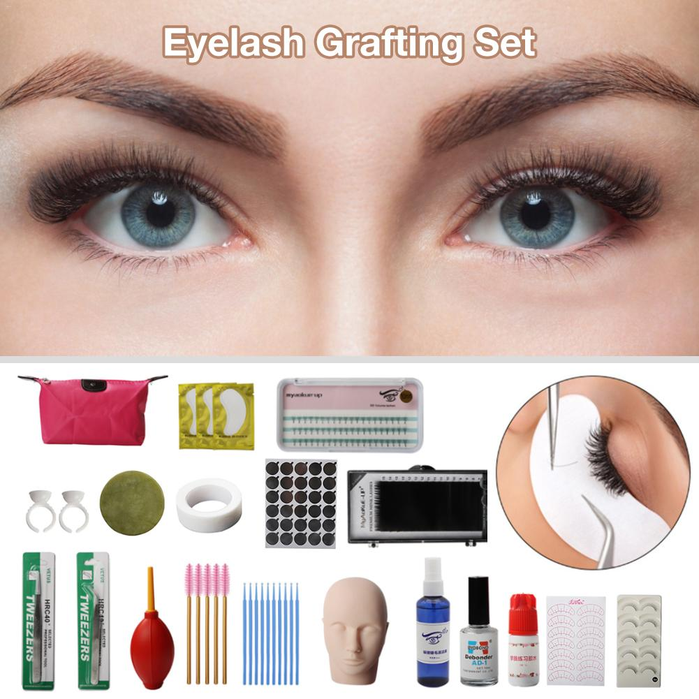 False Eyelashes Extension Practice Exercise Kit Makeup Mannequin Head Set Grafting Eyelash Tools Kit Practice Eye Lashes Graft #
