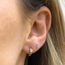 Minimalist earrings for women,925 sterling silver hoop earring Clear zircon,party engagement fine jewelry earlobe Accessory gift