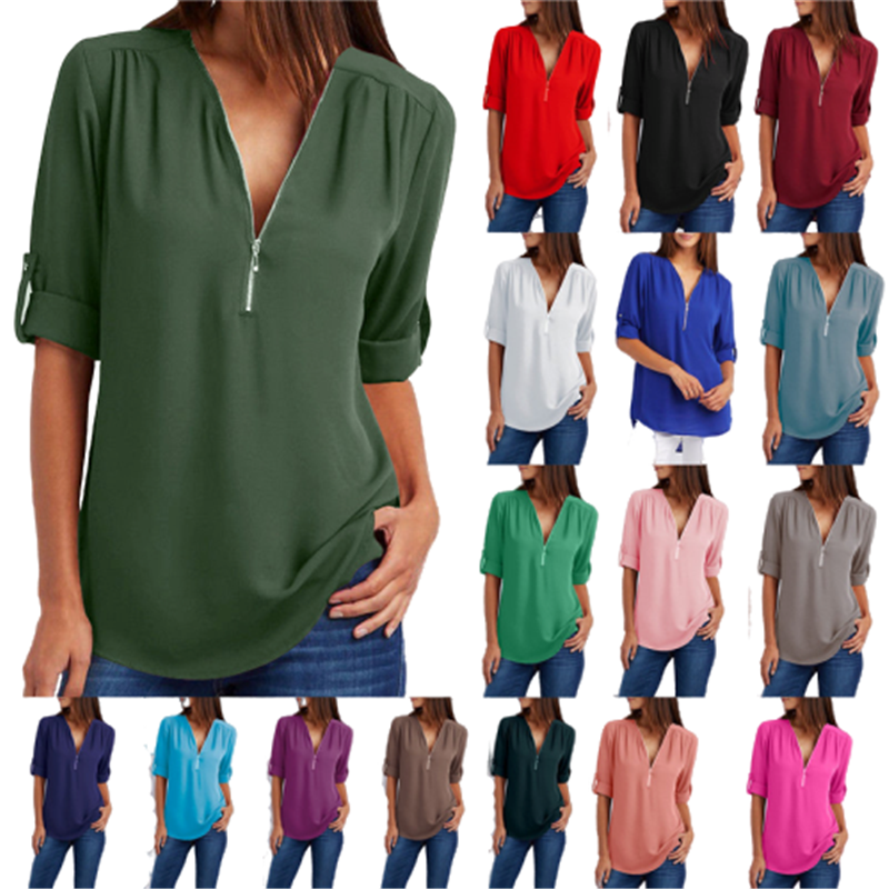 Big Size 4XL 5xl Women chiffon Tshirt V neck Zipper irregular Loose...