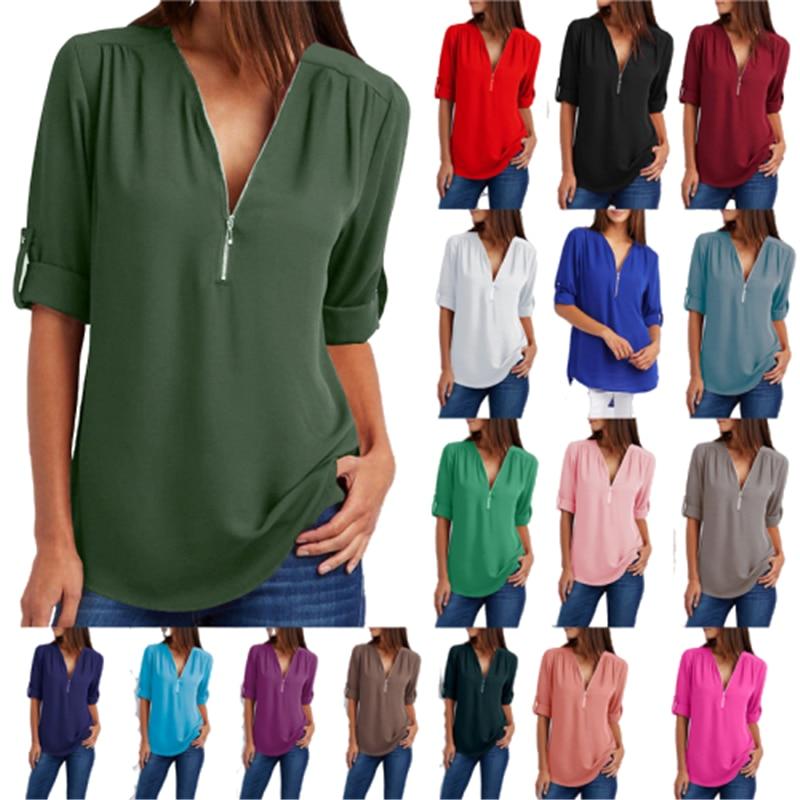 Big Size 4XL 5xl Women chiffon Tshirt V-neck Zipper irregular Loose Casual T shirts Spring Summer Plus size Sexy Tops Tee shirts