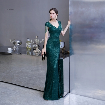 Sequined Maxi Dress Elegant V Neck Emerald Green Mermaid Formal Party Evening With Beading - discount item  52% OFF Special Occasion Dresses