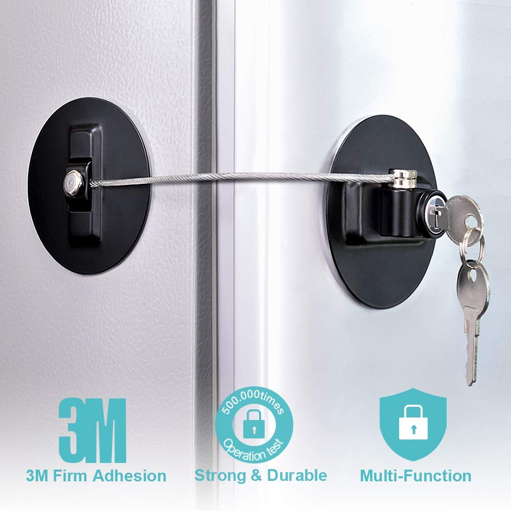 Baby//Toddler//Child Safety Device Homy Refrigerator Lock Window//Door Restrictor Cable Freezer Door Lock Cabinet Lock Strong Adhesive Lock with Key