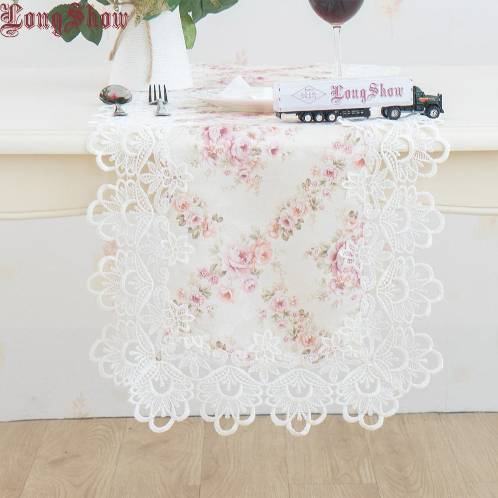 Pastorale Style Floral Jacquard Pink Color Embroidered Lace Table Runner