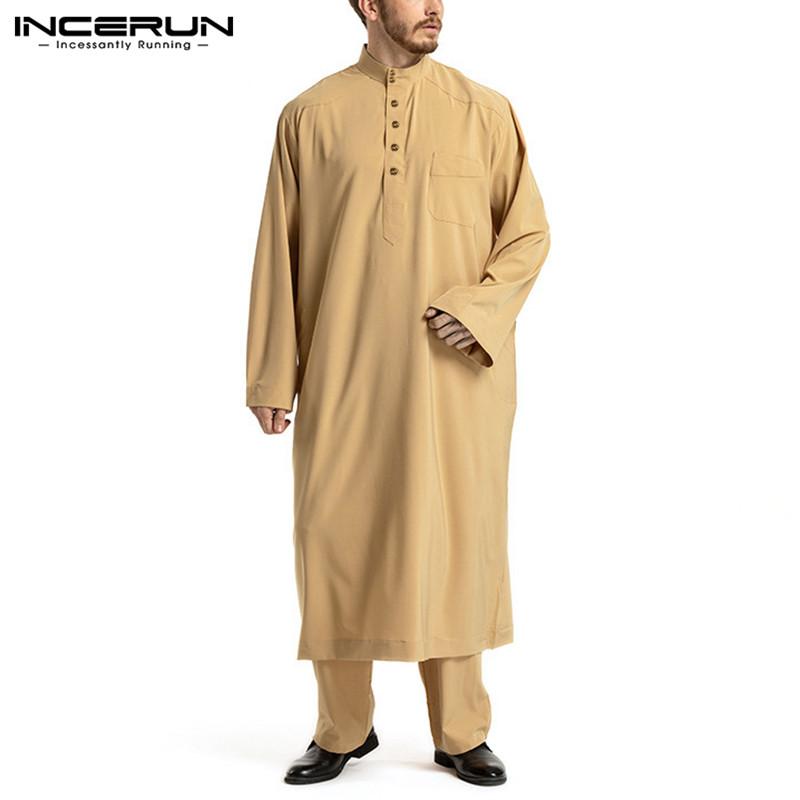 Muslim Men Sets Solid Color Long Sleeve Tops & Pants 2 Pieces Islamic Arabic Kaftan Sets Dubai Men Jubba Thobe Suis INCERUN 2021