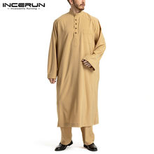 Ensemble pour hommes musulmans, couleur unie, manches longues, haut et pantalon, Kaftan arabe islamique, dubaï, Jubba Thobe, Suis INCERUN, 2 pièces, 2021