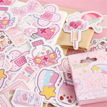 46pcs/box Cute Pink Girl Series Boxed Kawaii Stickers Planner Scrapbooking School Stationery Japanese Diary - discount item  36% OFF Stationery Sticker