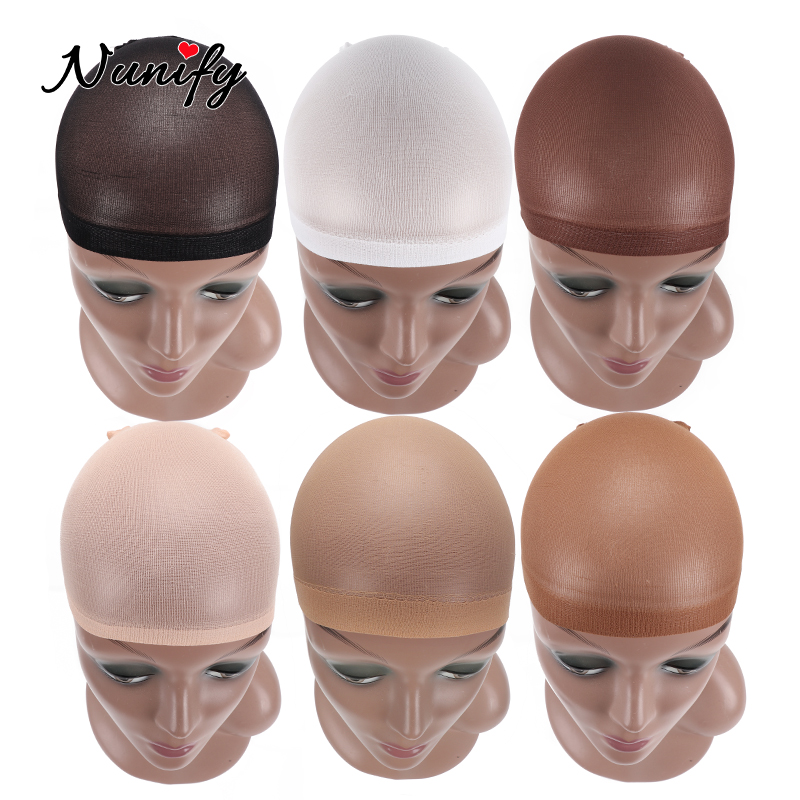 Nunify Wig Cap Invisible Stocking Wig Caps Black Beige Skin Color Hair Net Breathable Wave Cap Wig Accessories 2Pcs/Lot