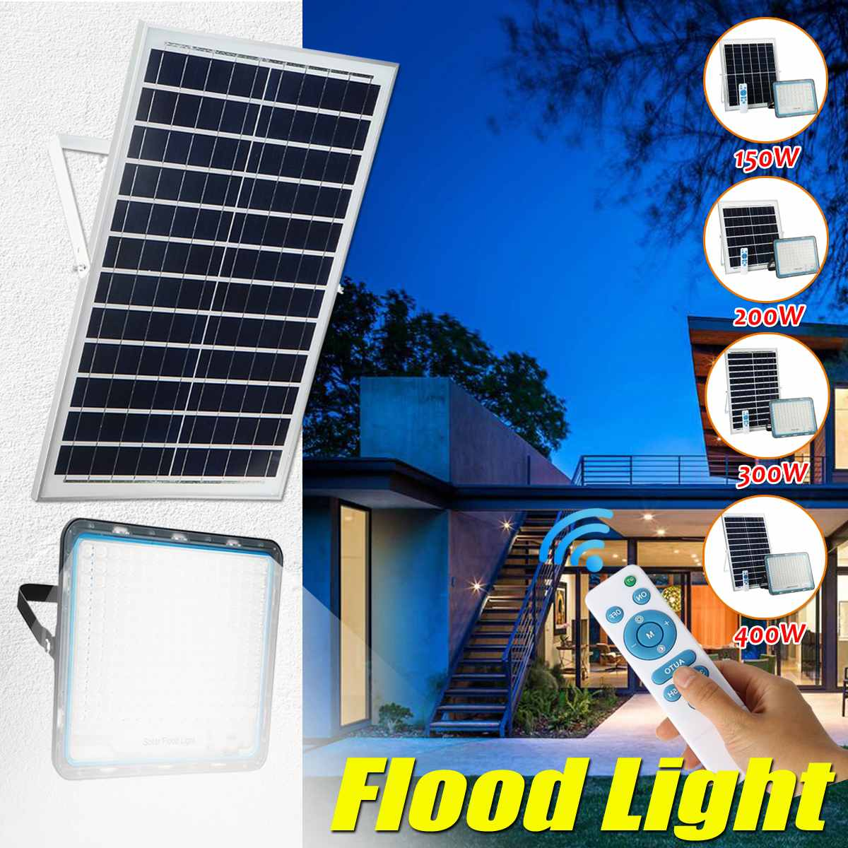 Multi-function Solar Flood Light Outdoor Waterproof Wall Lamp Led Solar Lamps Garden Lighting 150/200/300/400W W/ Solar Panel RC