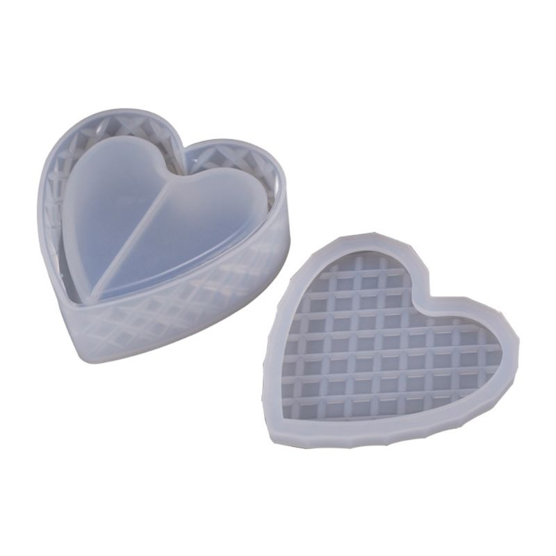 Heart-shaped Cut Section Mold DIY Crystal Epoxy Storage Box Mould Jewelry Gift Case Silicone Molds