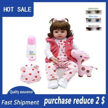 47cm bebe reborn doll Silicone baby adorable Lifelike toddler Bonecas girl menina de surprice doll With Giraffe Christmas gifts 2015 new design 24inch reborn toddler baby doll rooted human hair fridolin lifelike sweet girl real gentle touch