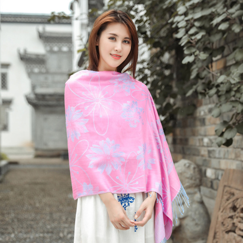 New jacquard travel sunscreen scarf women шарф retro chinese style scarf pure cotton long tassel dual-use air conditioning shawl