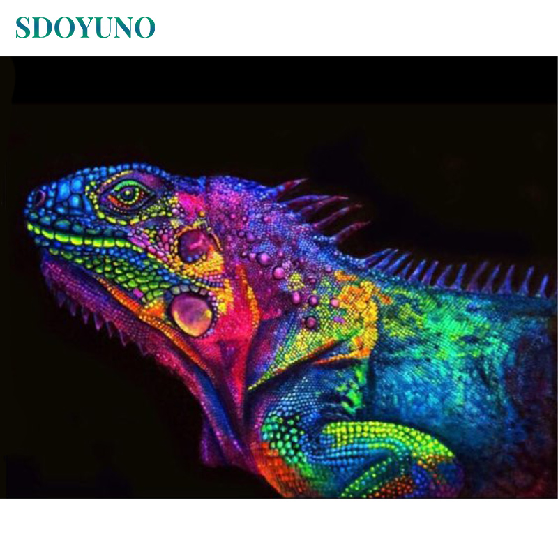 SDOYUNO Pictures By Numbers 60x75cm DIY Painting By Numbers Frameless Colorful Chameleon Home Decor Digital Painting On Canvas
