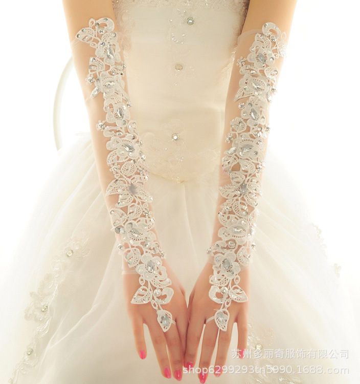 Foreign Trade Bride Gloves Long Summer Wedding Sunscreen Wedding Dress Gloves Lace Gloves...