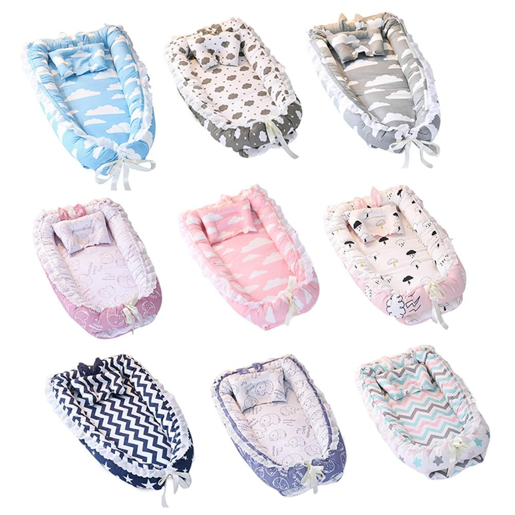 Baby Nest Cartoon Printing Bionic Bed Detachable Washable Portable Baby Bed Multifunctional Travel Crib Newborn Mattress