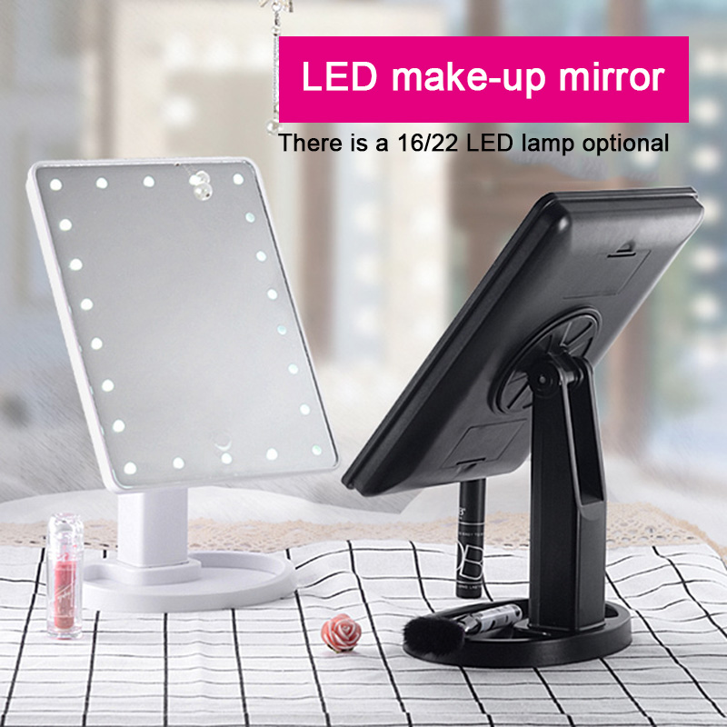 Dropshipping Adjustable LED Light Makeup Mirror Makeup Mirror  Beauty Mirrors Beauty Tools Light 16/22 TouchScreen Table Mirror