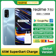 Versão global realme 7 pro 8gb 128gb smartphon snapdragon 720g 6.4 Polegada tela amoled 64mp quad camera 65w superdart carga nfc