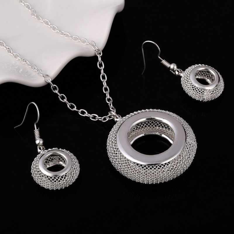 MINHIN Silver Plated ชุดเครื่องประดับสำหรับสตรี Charms งานแต่งงานชุดสร้อยคอต่างหูสร้อยคอ 2Pcs แฟชั่นเครื่องประดับ