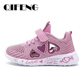 子供メッシュカジュアルシューズ子供バナースポーツ靴キッズシューズ女の靴かわいいピンクフラット靴送料