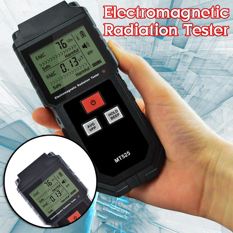 Electromagnetic Radiation Handheld Digital Dosimeter LCD Measurement Detector Counter Geiger Locking Sound MT525 Light 9V EMF