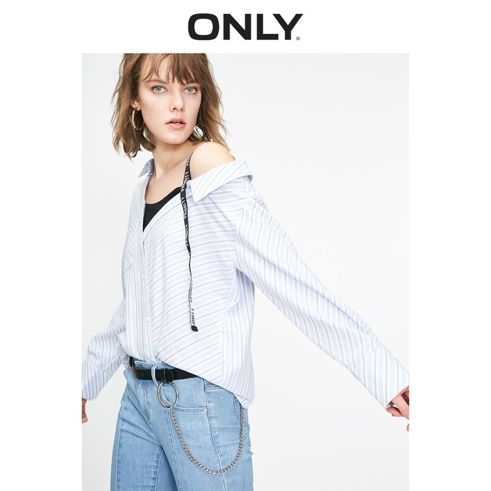 ONLY  Women's Loose Fit 100% Cotton Asymmetrical Off-the-shoulder Fake Two-piece Long-sleeved Shirt | 119151526