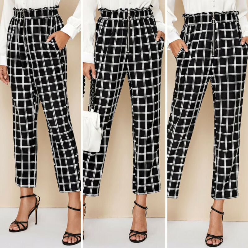 Trendy Women's Ankle-Length Pants High Waist Plaid Check Print Women Trousers Ladies Skinny Pencil Pants Elastic Trousers Femm