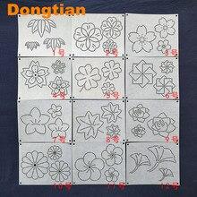 12 sztuk/zestaw kwiaty wzór liścia Sashiko szablony Sashiko szablon do rysowania Emboridery miękki szablon 15*12cm
