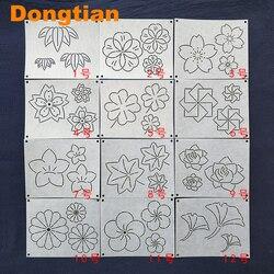 12pcs/set Flowers Leaf Pattern Sashiko Templates Sashiko Drawing Template Emboridery Soft Template 15*12cm