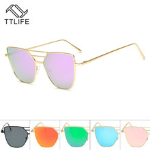 TTLIFE Women Cat Eye Sunglasses Metal Twin-Beams Sun Glasses Coating Mirror Glasses Classic Brand Designer Flat Lens YJHH0262
