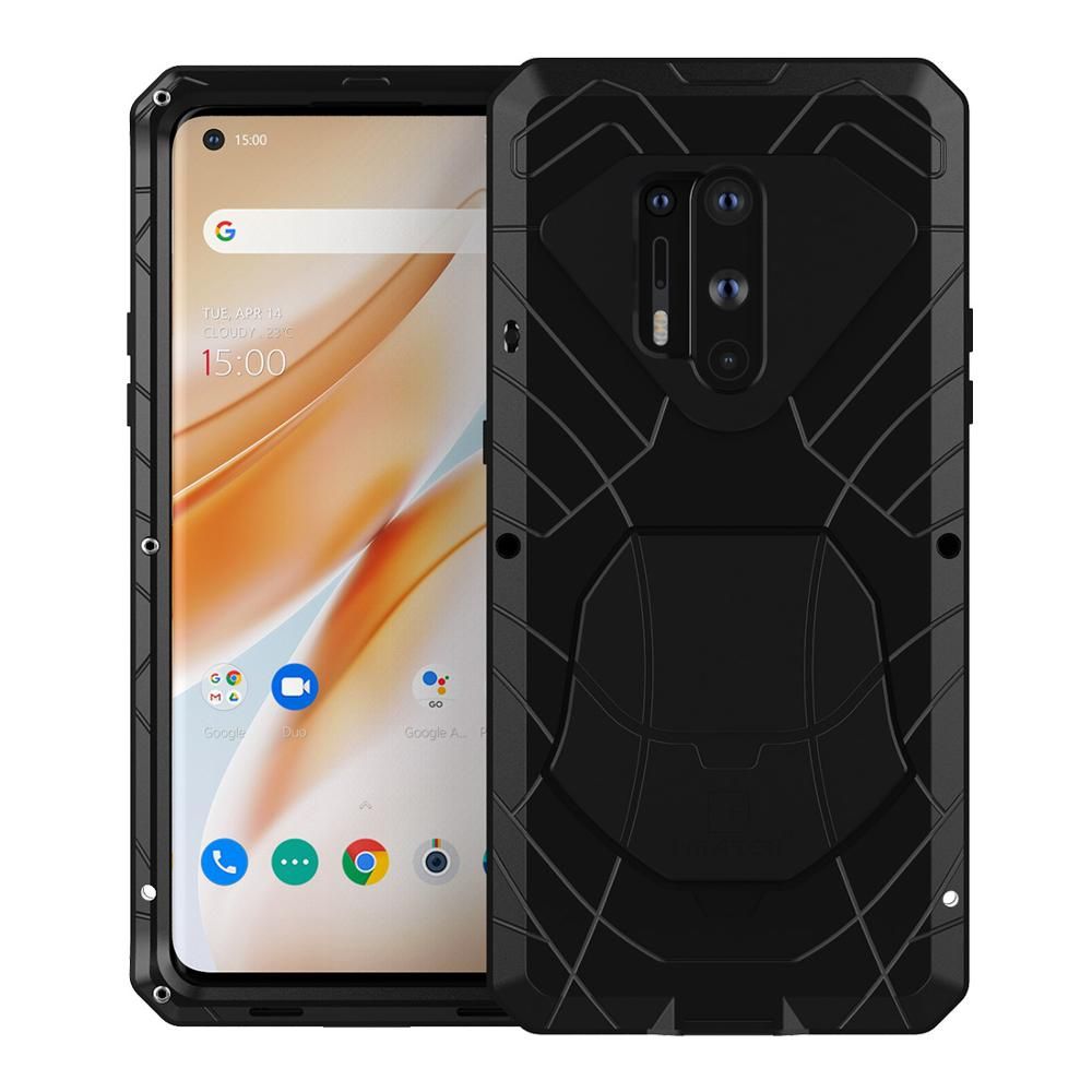 For Oneplus 8 Phone Case Hard Aluminum Metal Case With Tempered Glass Screen Protector Gift Heavy Duty Cover for Oneplus 8 Pro