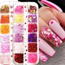 12 siatki/pudełko laserowe serce miłości motyl paznokci cekiny mieszane kolor blask paznokci Glitter płatki 3D paznokci dekoracje artystyczne akcesoria