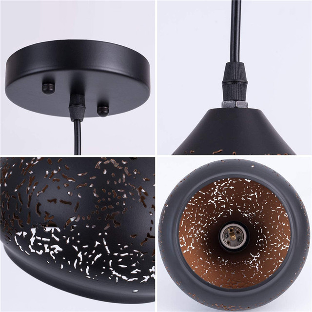 Lámpara colgante Retro LED Industrial, lámpara colgante perforada con acabado lacado, accesorio de iluminación de Metal para restaurante, cocina, Loft