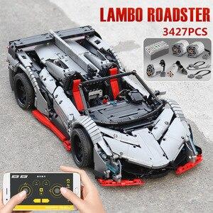 Image 5 - 3427 Chiếc Mộc RC Technic Xe Ô Tô Các Veneno Roadster Điện Chức Năng Mô Hình Xe Khối Xây Gạch Trẻ Em Tự Làm Đồ Chơi Giáng Sinh quà Tặng