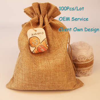 2020 Organza Bag Christmas Tag Natural Burlap Bag Tag White/Brown/Black/Black Kraft Paper Card Printing Hangtag Can Customized image
