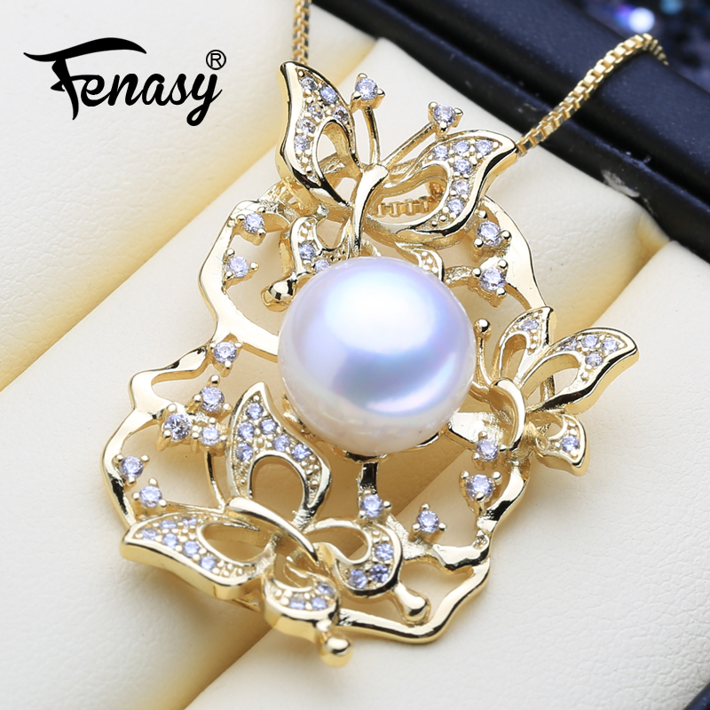 FENASY Necklace Pendant 925-Sterling-Silver Natural-Freshwater-Pearl Women For Gold-Color